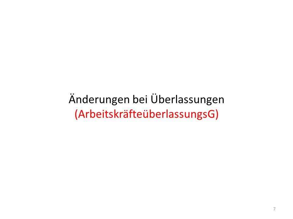 Änderungen AÜG auf 1 Blick Entfall der Teilausnahme (Abschnitt-III-Normen) für konzerninterne grenzüberschreitende Überlassungen § 17(1): Erforderliche Meldung der Überlassung von Arbeitskräften an die Gewerbebehörde durch den Überlasser § 17(2): Erforderliche Meldung grenzüberschreitender bewilligungsfreier Überlassung an Zentrale Koordinationsstelle KIAB (BMF) spätestens eine Woche vor Arbeitsaufnahme 8