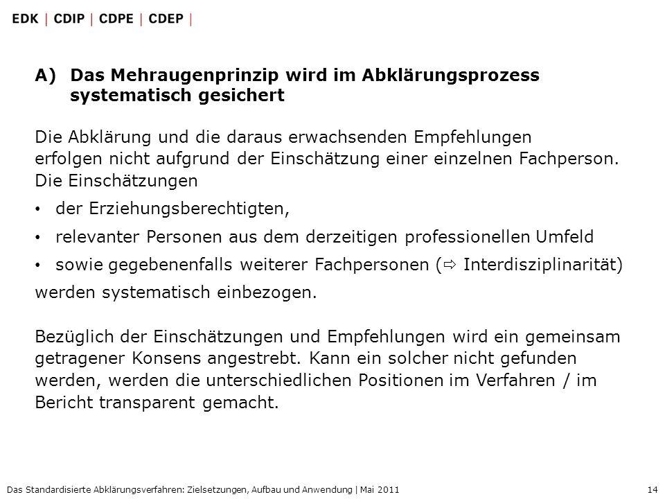 14 Das Standardisierte Abklärungsverfahren: Zielsetzungen, Aufbau und Anwendung | Mai 2011 A)Das Mehraugenprinzip wird im Abklärungsprozess systematis