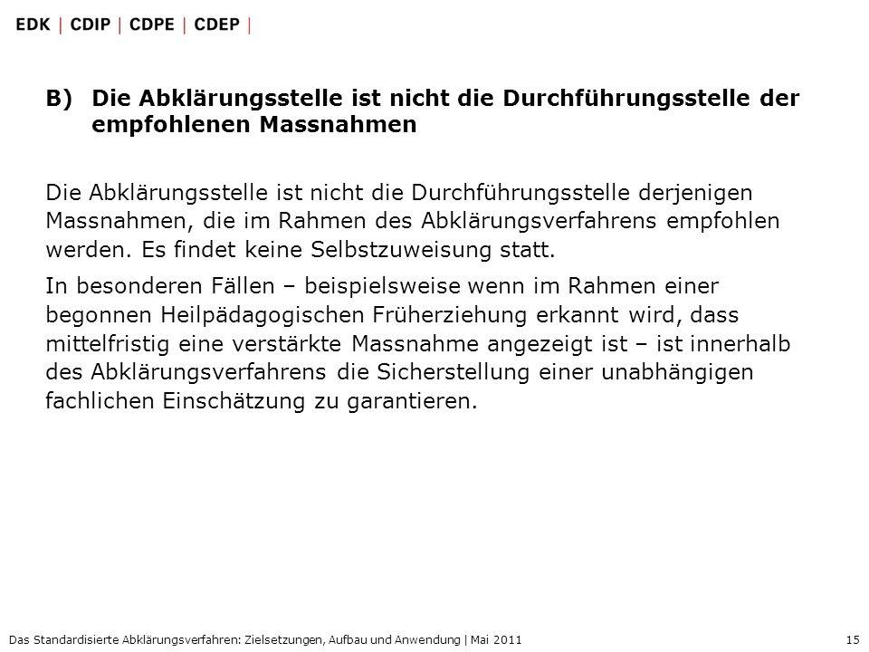 15 Das Standardisierte Abklärungsverfahren: Zielsetzungen, Aufbau und Anwendung | Mai 2011 B)Die Abklärungsstelle ist nicht die Durchführungsstelle de
