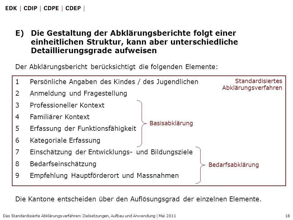 18 Das Standardisierte Abklärungsverfahren: Zielsetzungen, Aufbau und Anwendung | Mai 2011 E)Die Gestaltung der Abklärungsberichte folgt einer einheit