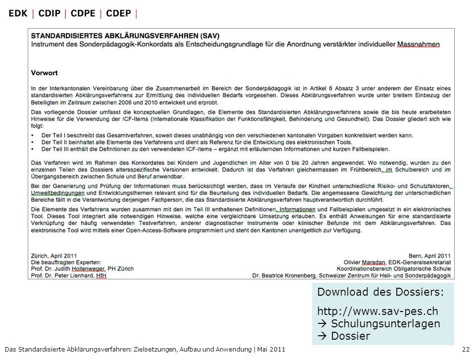 22 Das Standardisierte Abklärungsverfahren: Zielsetzungen, Aufbau und Anwendung | Mai 2011 Download des Dossiers: http://www.sav-pes.ch Schulungsunter
