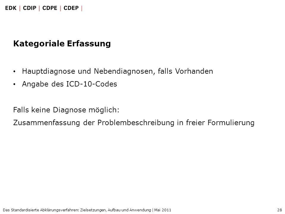 28 Das Standardisierte Abklärungsverfahren: Zielsetzungen, Aufbau und Anwendung | Mai 2011 Kategoriale Erfassung Hauptdiagnose und Nebendiagnosen, fal