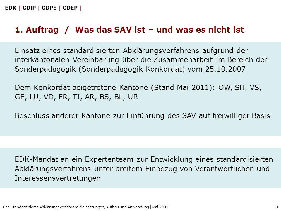 3 Das Standardisierte Abklärungsverfahren: Zielsetzungen, Aufbau und Anwendung | Mai 2011 Einsatz eines standardisierten Abklärungsverfahrens aufgrund