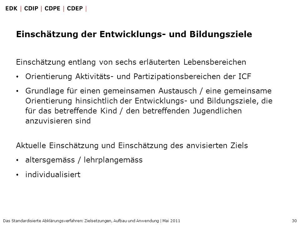 30 Das Standardisierte Abklärungsverfahren: Zielsetzungen, Aufbau und Anwendung | Mai 2011 Einschätzung der Entwicklungs- und Bildungsziele Einschätzu