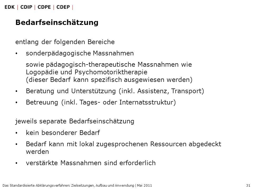 31 Das Standardisierte Abklärungsverfahren: Zielsetzungen, Aufbau und Anwendung | Mai 2011 Bedarfseinschätzung entlang der folgenden Bereiche sonderpä