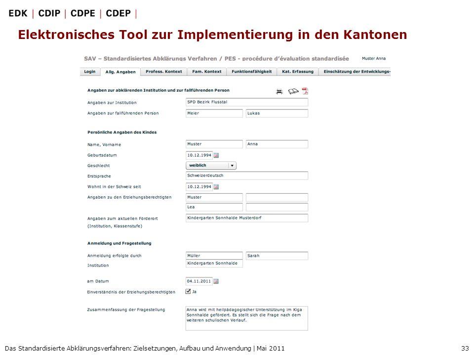 33 Das Standardisierte Abklärungsverfahren: Zielsetzungen, Aufbau und Anwendung | Mai 2011 Elektronisches Tool zur Implementierung in den Kantonen