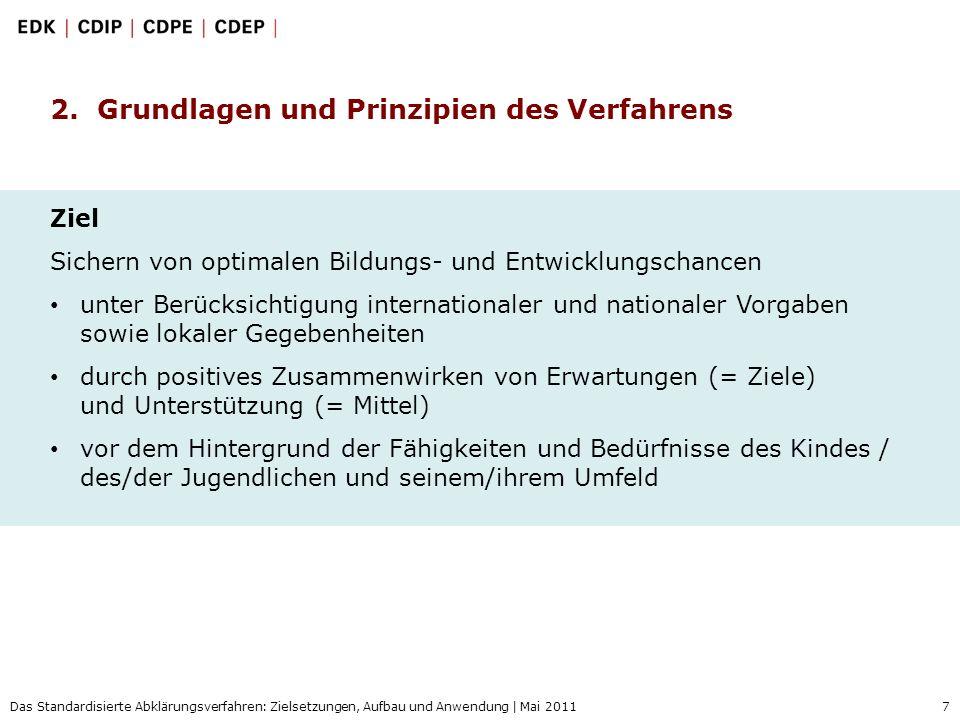 7 Das Standardisierte Abklärungsverfahren: Zielsetzungen, Aufbau und Anwendung | Mai 2011 2. Grundlagen und Prinzipien des Verfahrens Ziel Sichern von