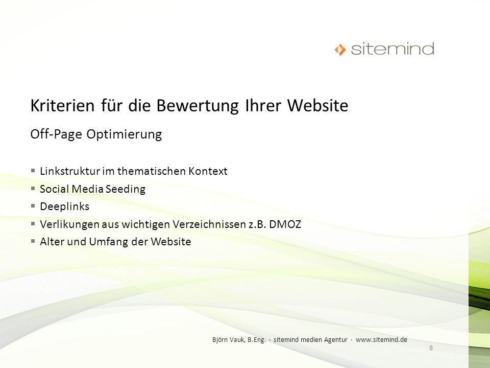 Off-Page Optimierung Linkstruktur im thematischen Kontext Social Media Seeding Deeplinks Verlikungen aus wichtigen Verzeichnissen z.B. DMOZ Alter und