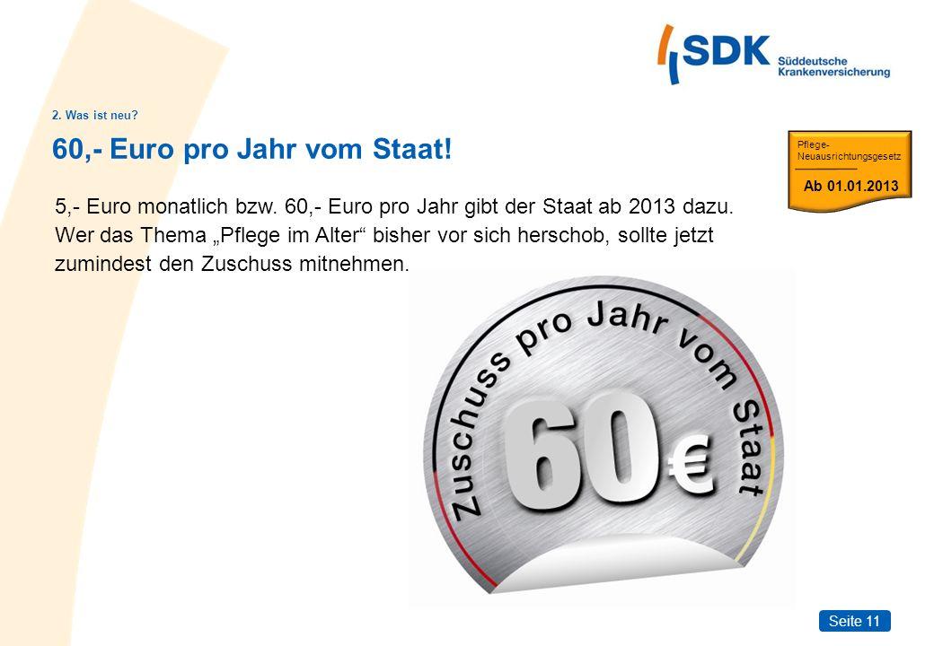 Seite 11 60,- Euro pro Jahr vom Staat! 2. Was ist neu? 5,- Euro monatlich bzw. 60,- Euro pro Jahr gibt der Staat ab 2013 dazu. Wer das Thema Pflege im