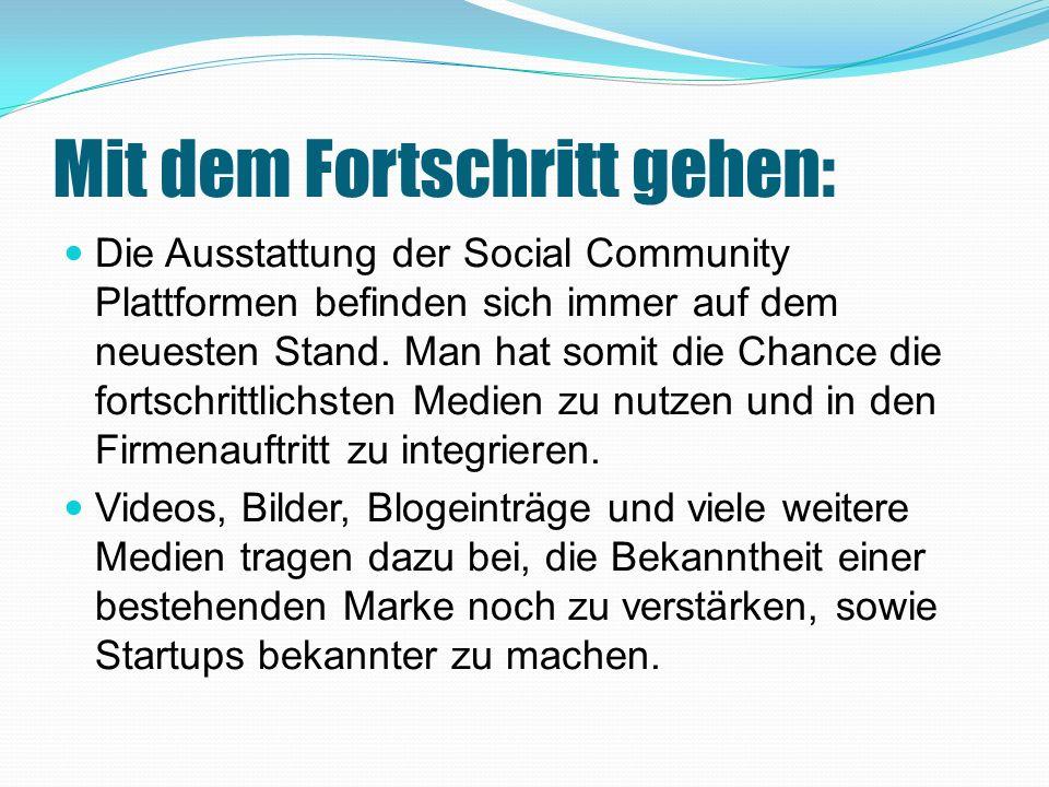 Mit dem Fortschritt gehen: Die Ausstattung der Social Community Plattformen befinden sich immer auf dem neuesten Stand.