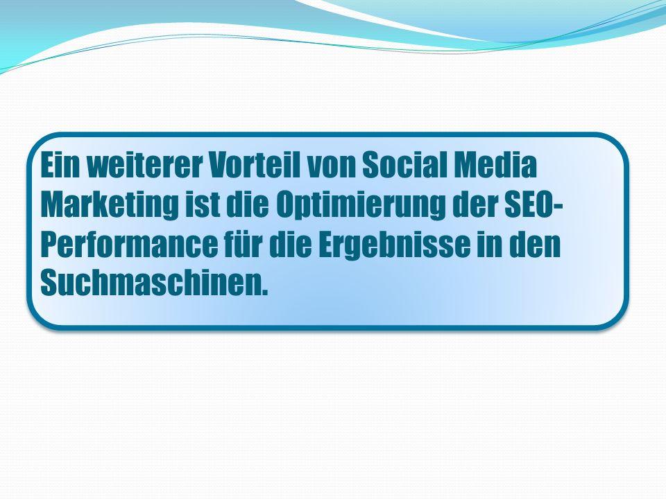 Ein weiterer Vorteil von Social Media Marketing ist die Optimierung der SEO- Performance für die Ergebnisse in den Suchmaschinen.