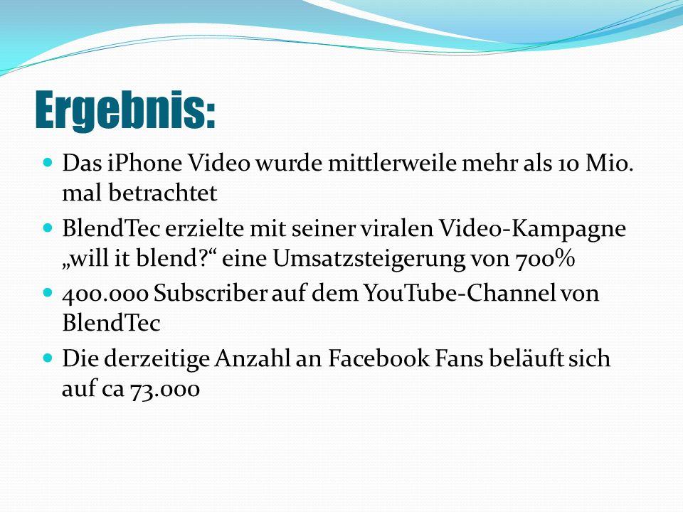 Ergebnis: Das iPhone Video wurde mittlerweile mehr als 10 Mio.