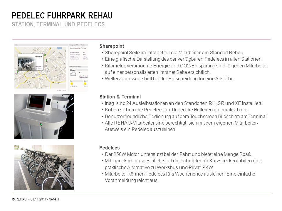 © REHAU - 03.11.2011 - Seite 3 PEDELEC FUHRPARK REHAU STATION, TERMINAL UND PEDELECS Station & Terminal Insg. sind 24 Ausleihstationen an den Standort