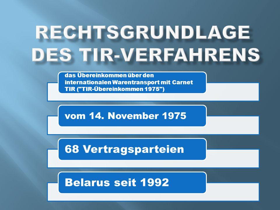 das Übereinkommen über den internationalen Warentransport mit Carnet TIR ( TIR-Übereinkommen 1975 ) vom 14.
