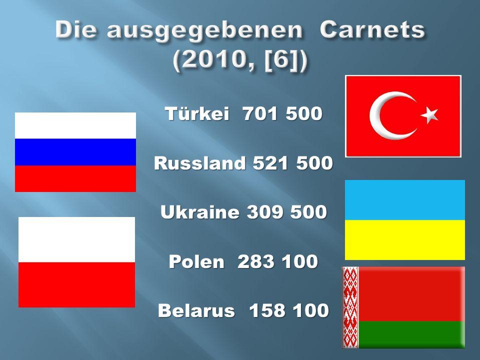Türkei 701 500 Russland 521 500 Ukraine 309 500 Polen 283 100 Belarus 158 100