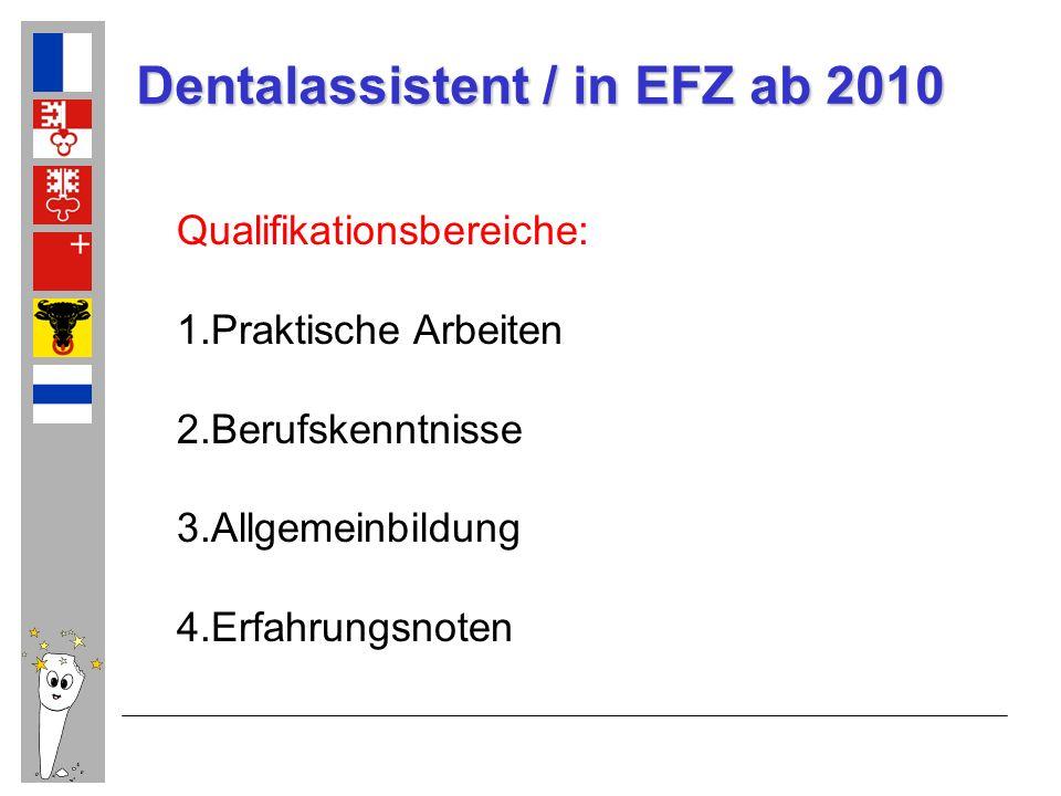 Dentalassistent / in EFZ ab 2010 Qualifikationsbereiche: 1.Praktische Arbeiten 2.Berufskenntnisse 3.Allgemeinbildung 4.Erfahrungsnoten