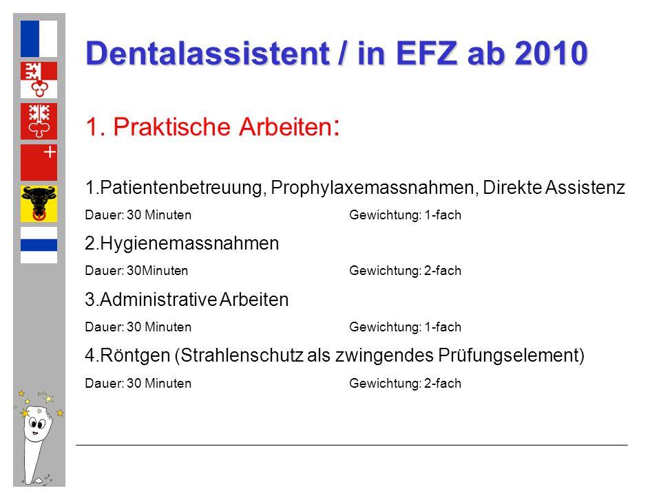 Dentalassistent / in EFZ ab 2010 1. Praktische Arbeiten : 1.Patientenbetreuung, Prophylaxemassnahmen, Direkte Assistenz Dauer: 30 MinutenGewichtung: 1
