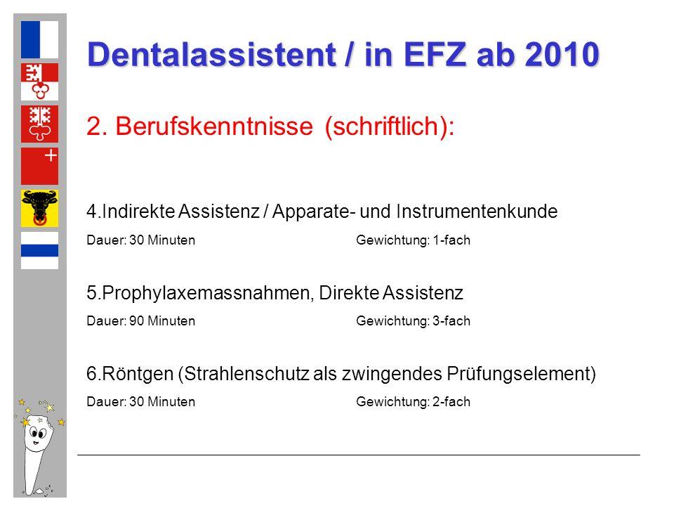 Dentalassistent / in EFZ ab 2010 2. Berufskenntnisse (schriftlich): 4.Indirekte Assistenz / Apparate- und Instrumentenkunde Dauer: 30 MinutenGewichtun