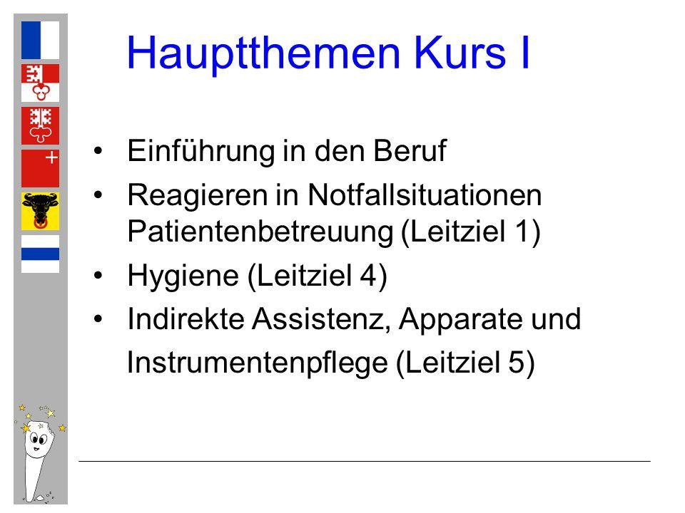 Hauptthemen Kurs I Einführung in den Beruf Reagieren in Notfallsituationen Patientenbetreuung (Leitziel 1) Hygiene (Leitziel 4) Indirekte Assistenz, A