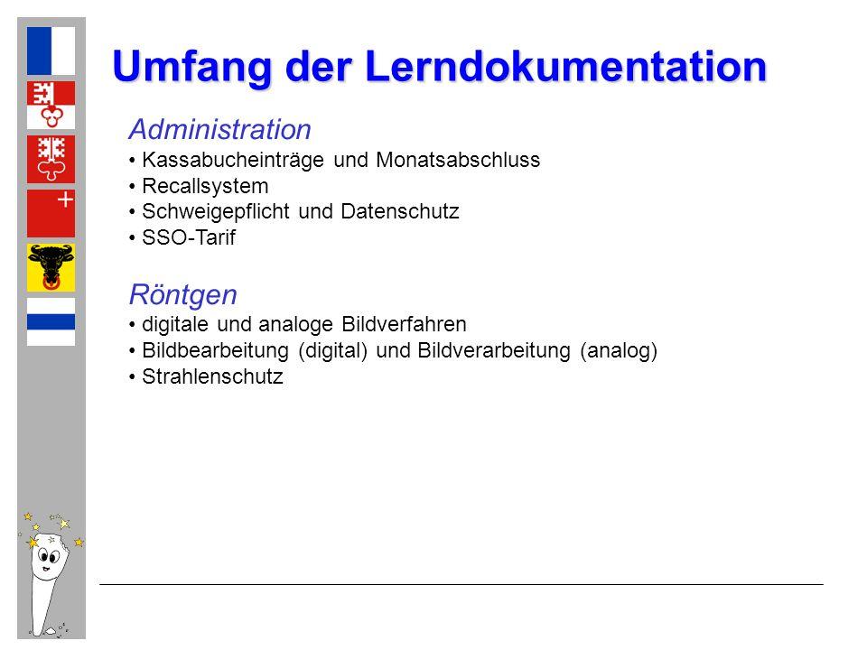 Administration Kassabucheinträge und Monatsabschluss Recallsystem Schweigepflicht und Datenschutz SSO-Tarif Röntgen digitale und analoge Bildverfahren