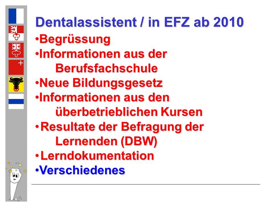 Dentalassistent / in EFZ ab 2010 BegrüssungBegrüssung Informationen aus derInformationen aus der Berufsfachschule Berufsfachschule Neue Bildungsgesetz
