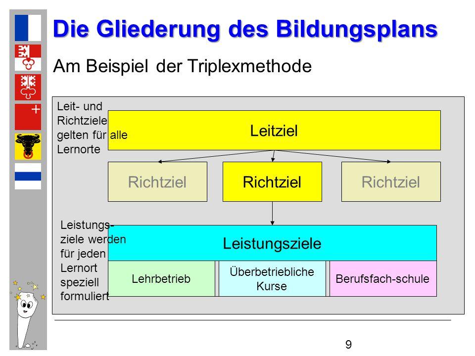 9 Die Gliederung des Bildungsplans Leitziel Richtziel Überbetriebliche Kurse LehrbetriebBerufsfach-schule Leistungsziele Am Beispiel der Triplexmethod