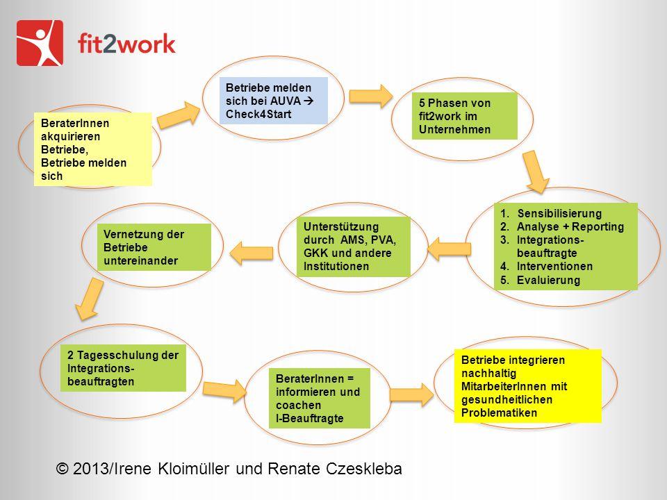 © 2013/Irene Kloimüller und Renate Czeskleba BeraterInnen akquirieren Betriebe, Betriebe melden sich Vernetzung der Betriebe untereinander Betriebe me