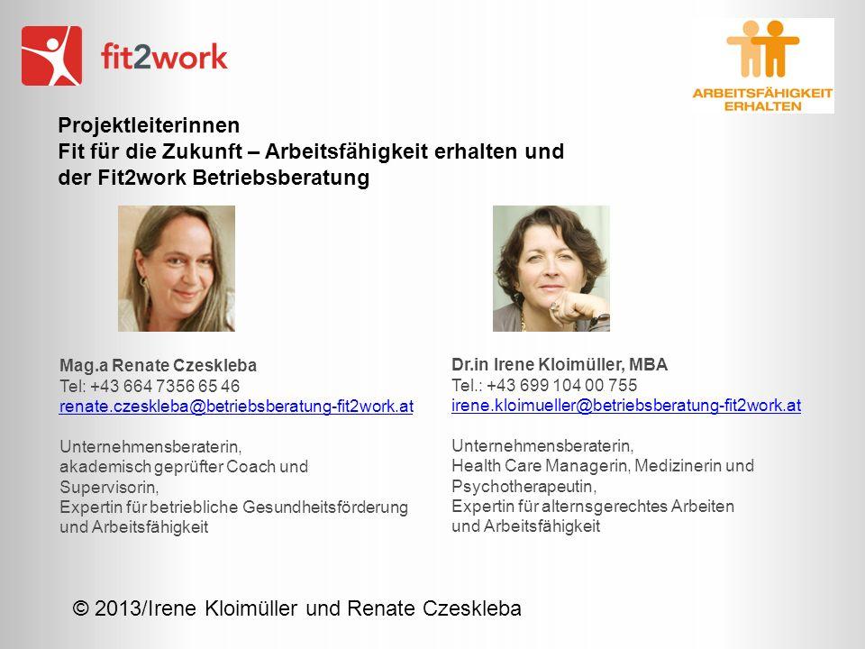 © 2013/Irene Kloimüller und Renate Czeskleba Projektleiterinnen Fit für die Zukunft – Arbeitsfähigkeit erhalten und der Fit2work Betriebsberatung Dr.i
