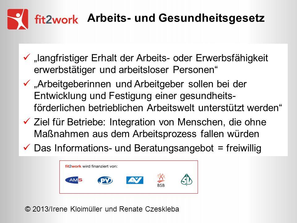 © 2013/Irene Kloimüller und Renate Czeskleba langfristiger Erhalt der Arbeits- oder Erwerbsfähigkeit erwerbstätiger und arbeitsloser Personen Arbeitge