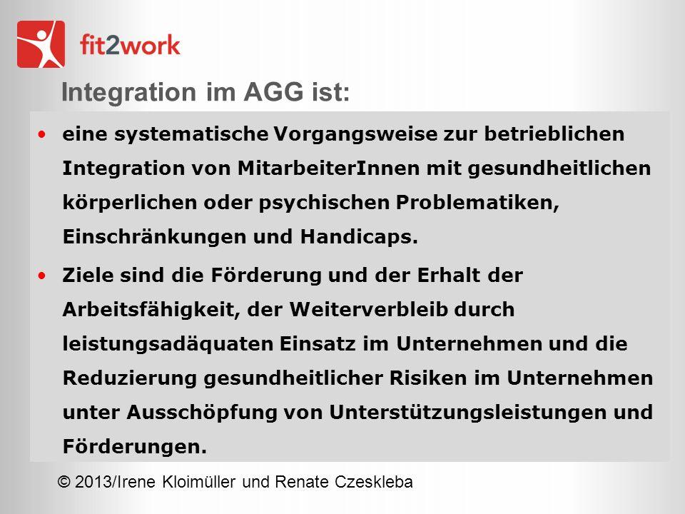 © 2013/Irene Kloimüller und Renate Czeskleba Integration im AGG ist: eine systematische Vorgangsweise zur betrieblichen Integration von MitarbeiterInn