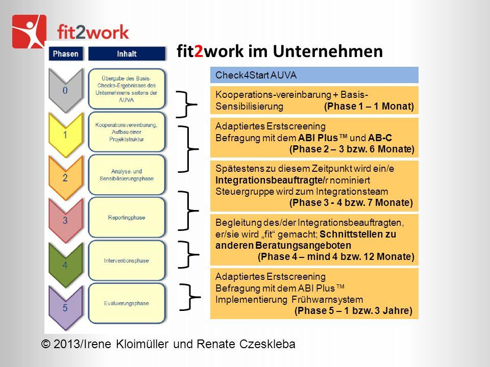 © 2013/Irene Kloimüller und Renate Czeskleba fit2work im Unternehmen Spätestens zu diesem Zeitpunkt wird ein/e Integrationsbeauftragte/r nominiert Ste