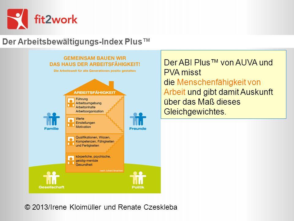 © 2013/Irene Kloimüller und Renate Czeskleba Der Arbeitsbewältigungs-Index Plus Der ABI Plus von AUVA und PVA misst die Menschenfähigkeit von Arbeit u
