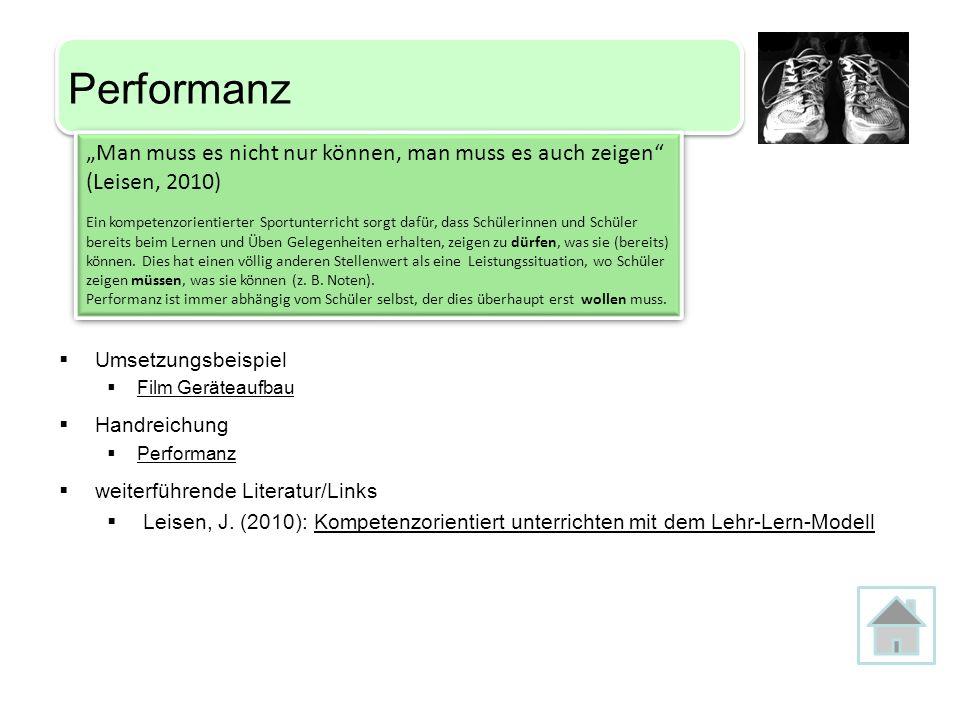 Umsetzungsbeispiel Film Geräteaufbau Handreichung Performanz weiterführende Literatur/Links Leisen, J. (2010): Kompetenzorientiert unterrichten mit de