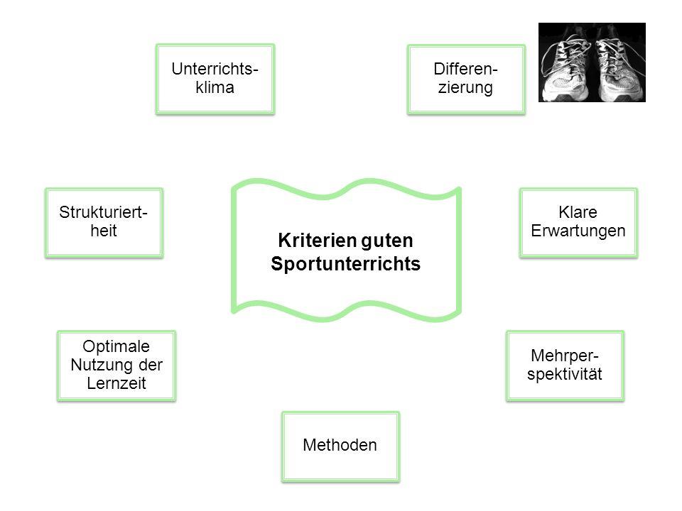 Kriterien guten Sportunterrichts Kriterien guten kompetenzorientierten Sportunterrichts … … Optimale Nutzung der Lernzeit Optimale Nutzung der Lernzeit Strukturiert- heit Strukturiert- heit Klare Erwartungen Klare Erwartungen Unterrichts- klima Unterrichts- klima Differen- zierung Differen- zierung Mehrper- spektivität Mehrper- spektivität Feedback Methoden Individuelle Förderung Individuelle Förderung Prozess- haftigkeit Prozess- haftigkeit Selbst- ständig- keit Selbst- ständig- keit Einsichtiges Lernen Einsichtiges Lernen Perfor- manz Perfor- manz