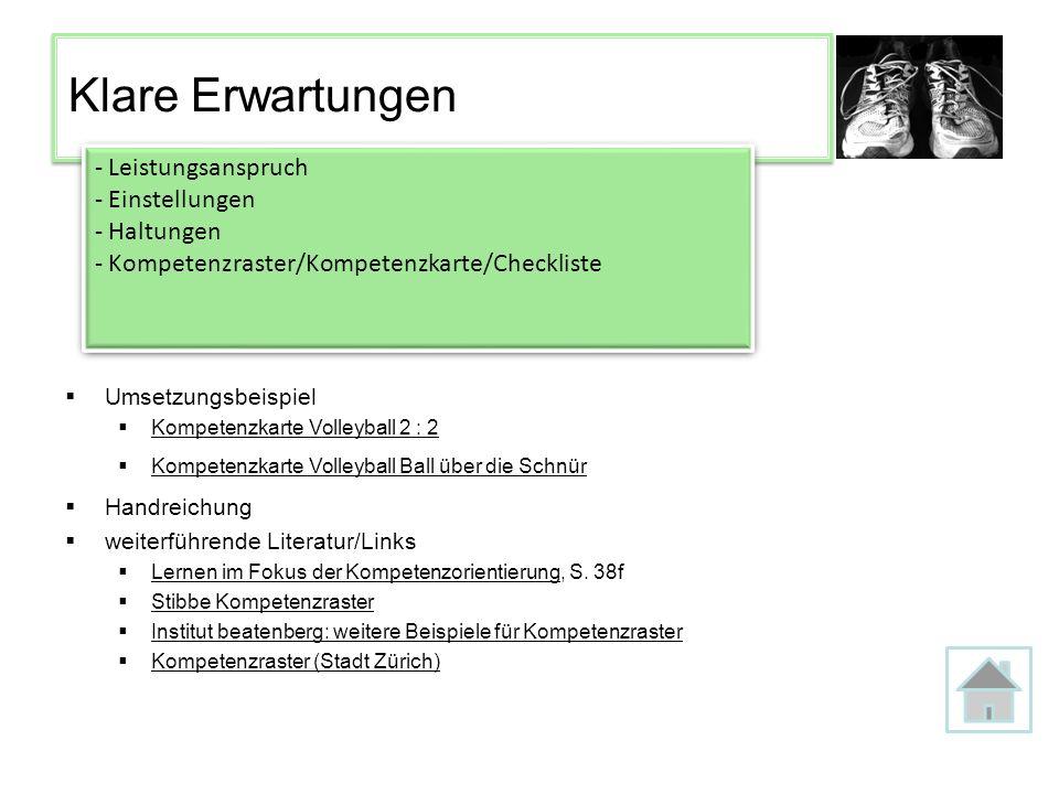 Klare Erwartungen - Leistungsanspruch - Einstellungen - Haltungen - Kompetenzraster/Kompetenzkarte/Checkliste - Leistungsanspruch - Einstellungen - Ha