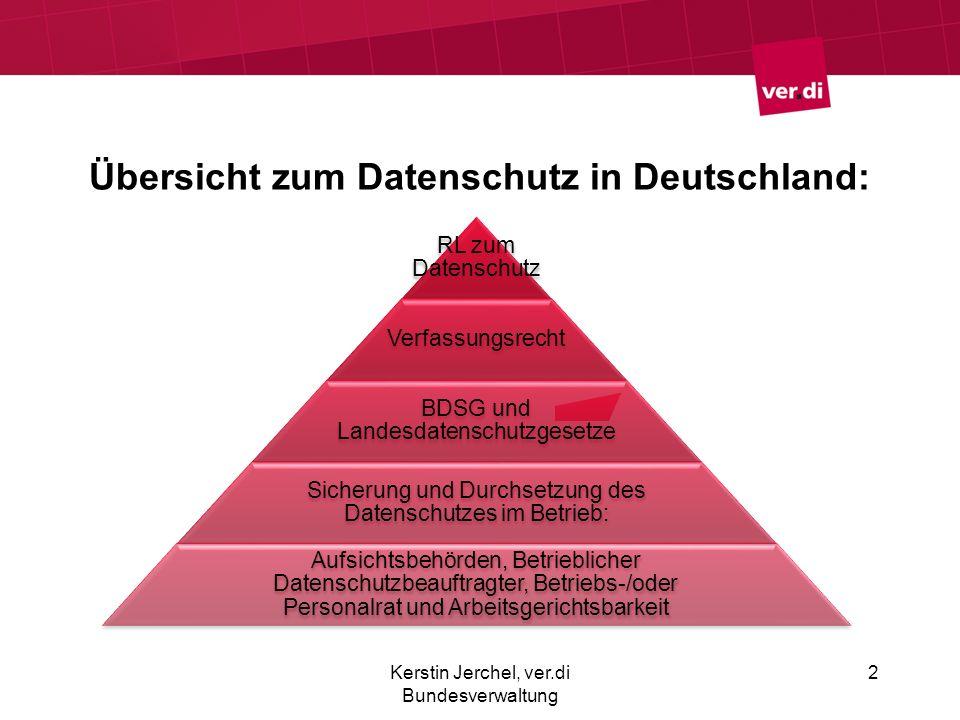 Übersicht zum Datenschutz in Deutschland: Kerstin Jerchel, ver.di Bundesverwaltung 2 RL zum Datenschutz Verfassungsrecht BDSG und Landesdatenschutzges
