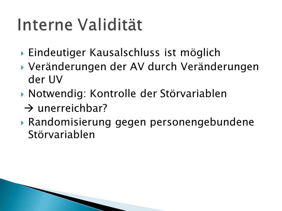 Eindeutiger Kausalschluss ist möglich Veränderungen der AV durch Veränderungen der UV Notwendig: Kontrolle der Störvariablen unerreichbar.