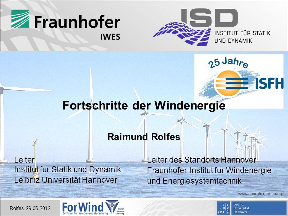 Rolfes 29.06.2012 Gliederung Historisches der Windenergie Aktuelle Forschung Internationale Forschungszentren Visionen der Zukunft Chinesische Windmühle, etwa 1000 n.Chr.