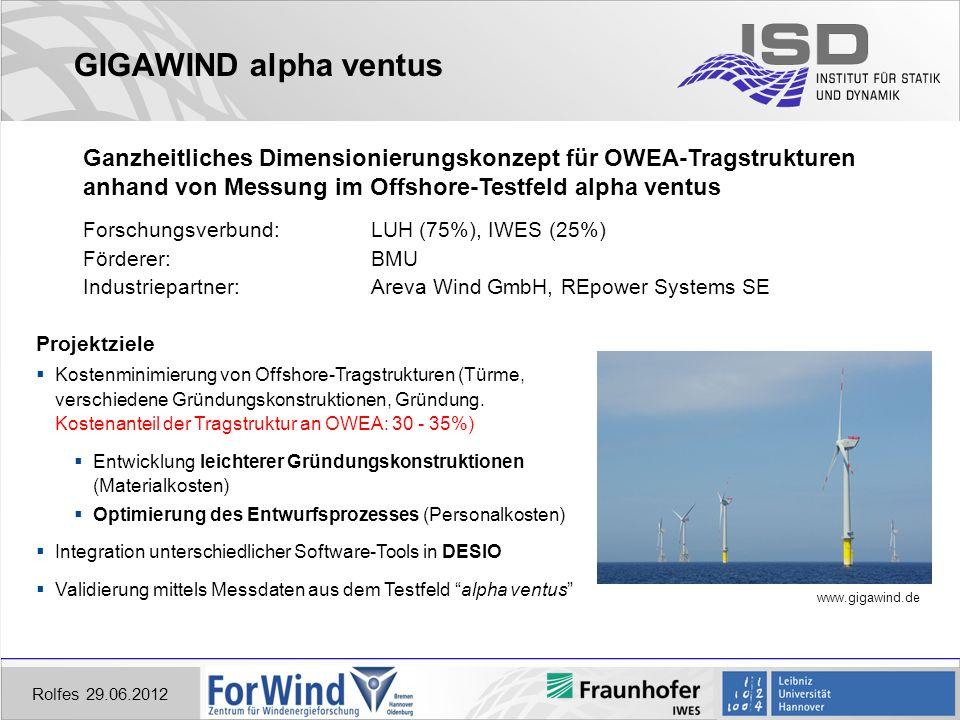 GIGAWIND alpha ventus Rolfes 29.06.2012 www.gigawind.de Ganzheitliches Dimensionierungskonzept für OWEA-Tragstrukturen anhand von Messung im Offshore-Testfeld alpha ventus Forschungsverbund: LUH (75%), IWES (25%) Förderer: BMU Industriepartner: Areva Wind GmbH, REpower Systems SE Projektziele Kostenminimierung von Offshore-Tragstrukturen (Türme, verschiedene Gründungskonstruktionen, Gründung.