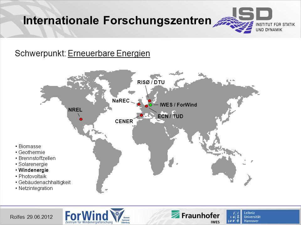 Rolfes 29.06.2012 Internationale Forschungszentren Schwerpunkt: Erneuerbare Energien NREL RISØ / DTU ECN / TUD CENER NaREC IWES / ForWind Biomasse Geothermie Brennstoffzellen Solarenergie Windenergie Photovoltaik Gebäudenachhaltigkeit Netzintegration