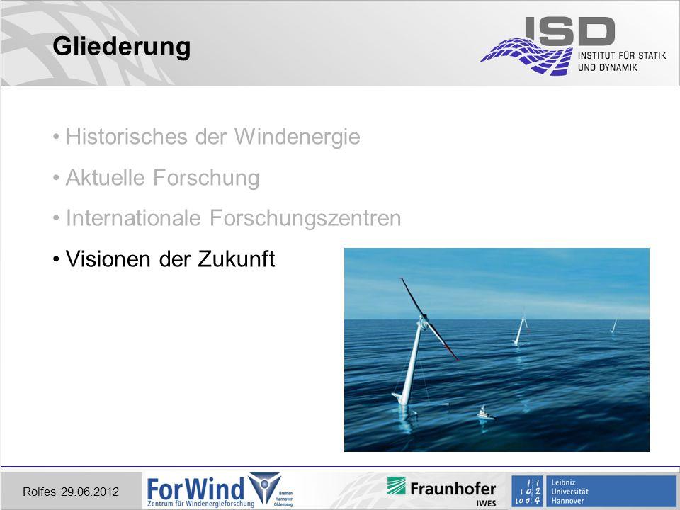 Rolfes 29.06.2012 Gliederung Historisches der Windenergie Aktuelle Forschung Internationale Forschungszentren Visionen der Zukunft