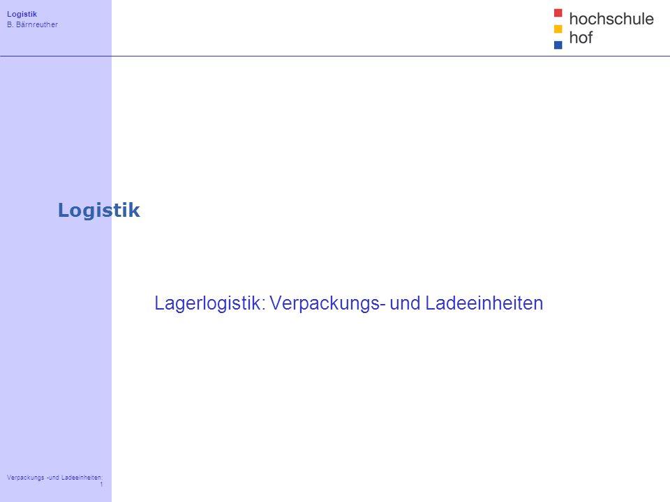 Logistik B. Bärnreuther 1 Verpackungs -und Ladeeinheiten: 1 Einführung Beschaffungslogistik Lagerlogistik Produktionslogistik Distributionslogistik Lo