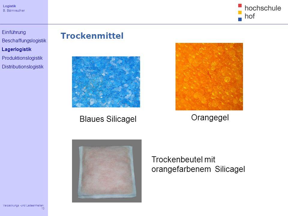 Logistik B. Bärnreuther 13 Verpackungs -und Ladeeinheiten: 13 Einführung Beschaffungslogistik Lagerlogistik Produktionslogistik Distributionslogistik