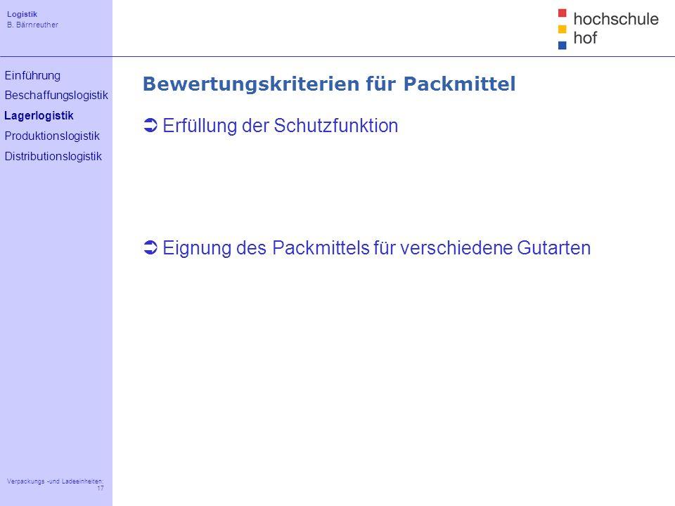 Logistik B. Bärnreuther 17 Verpackungs -und Ladeeinheiten: 17 Einführung Beschaffungslogistik Lagerlogistik Produktionslogistik Distributionslogistik