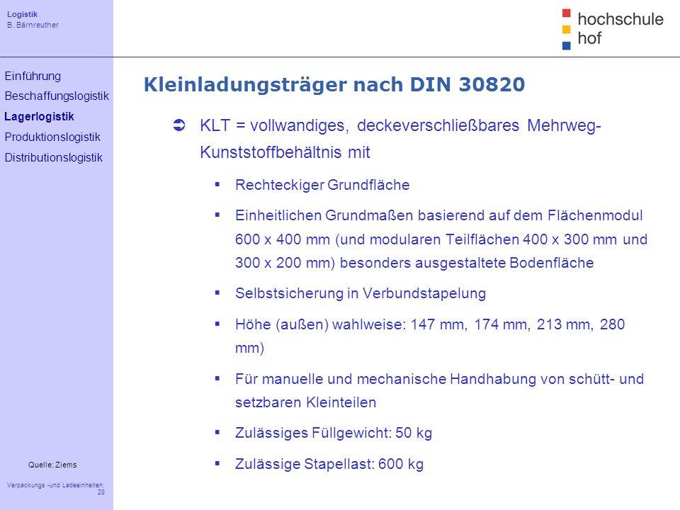 Logistik B. Bärnreuther 28 Verpackungs -und Ladeeinheiten: 28 Einführung Beschaffungslogistik Lagerlogistik Produktionslogistik Distributionslogistik