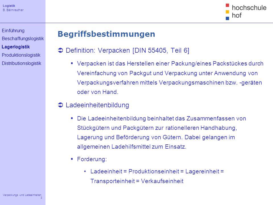 Logistik B. Bärnreuther 3 Verpackungs -und Ladeeinheiten: 3 Einführung Beschaffungslogistik Lagerlogistik Produktionslogistik Distributionslogistik Be