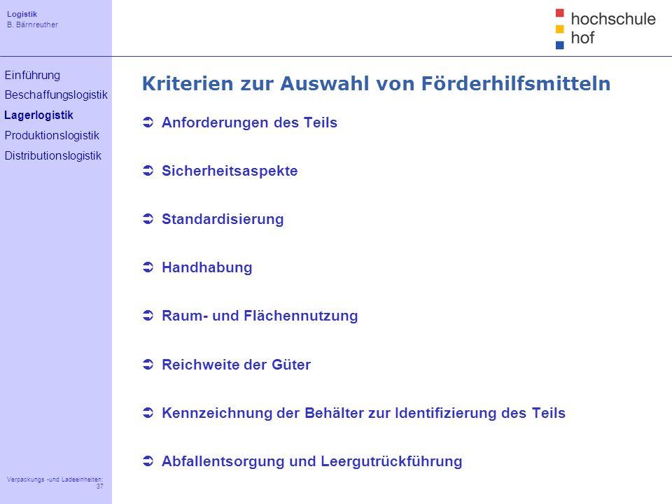 Logistik B. Bärnreuther 37 Verpackungs -und Ladeeinheiten: 37 Einführung Beschaffungslogistik Lagerlogistik Produktionslogistik Distributionslogistik