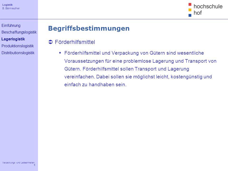 Logistik B. Bärnreuther 5 Verpackungs -und Ladeeinheiten: 5 Einführung Beschaffungslogistik Lagerlogistik Produktionslogistik Distributionslogistik Be