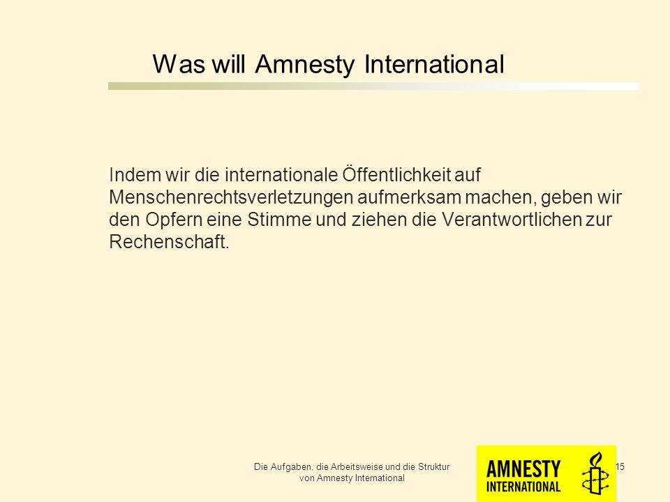 Was will Amnesty International Wir wollen, das die Menschenrechte nicht nur auf dem Papier stehen sondern auf der ganzen Welt jedem Menschen gewährt werden.