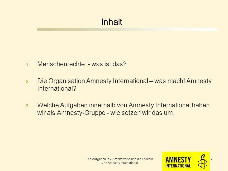 Die Aufgaben und die Arbeitsweise einer Amnesty - Gruppe Die Aufgaben, die Arbeitsweise und die Struktur von Amnesty International 1 Berthold Wagner Mitglied der Amnesty-Gruppe Ellwangen Ellwangen, 04.03.2013